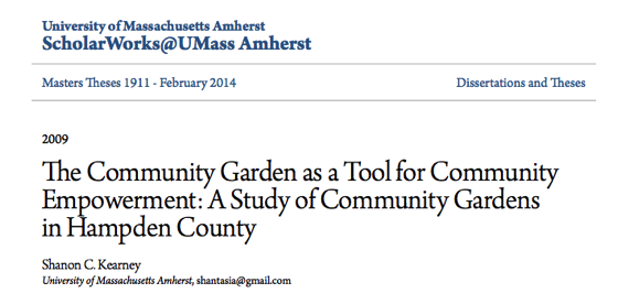 The Community Garden as a Tool for Community Empowerment: A Study of Community Gardens in Hampden County