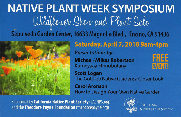 Local Event: Native Plant Celebration & Symposium, Wildflower Show & Plant Sale - April 7, 2018