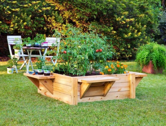 How to Build a Raised Bed with Benches via Bonnie Plants